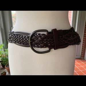 Accessories - Braided leather belt with large buckle